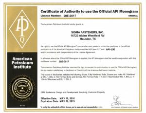 Sigma Fasteners - API 20E-0017 Monogram